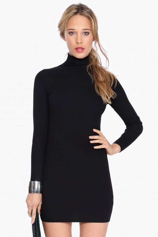 Carrie Turtleneck Dress in Black | Necessary Clothing
