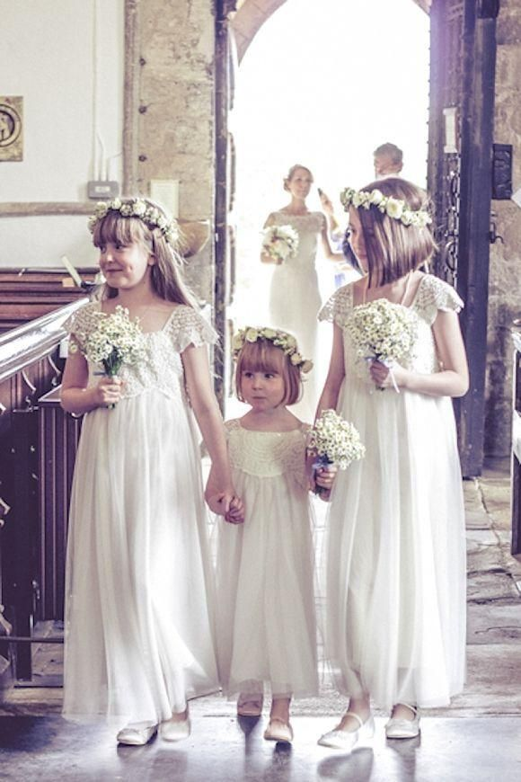 Vintage Wedding Dresses Flower Girls Capped Sleeve Low Back Princess White/Ivory Boho Flower Girl Dresses Children Communion Party Gowns Wedding Gowns Bridal Dresses From Angelsbridep, $50.27| Dhgate.Com