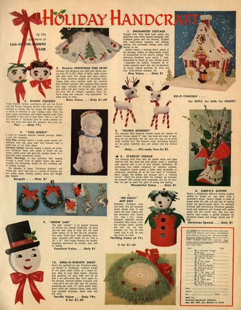 Fad_of_the_month_club_2: Century Christmas, Vintage Christmas, Vintage Holiday, Advertise Posters, Vintage Crafts, Handcrafts Christmas, Vintage Ads, Holiday Crafts, Holiday Handcrafts