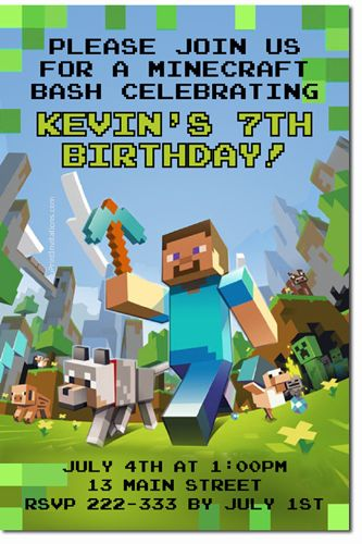 Minecraft Birthday Invitations - Get these invitations RIGHT NOW. Design yourself online, download and print IMMEDIATELY! Or choose my printing services. No software download is required. Free to try!