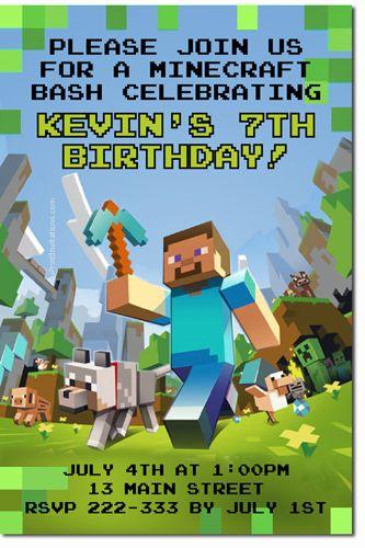 Minecraft Birthday Invitations **DOWNLOAD JPG IMMEDIATELY**