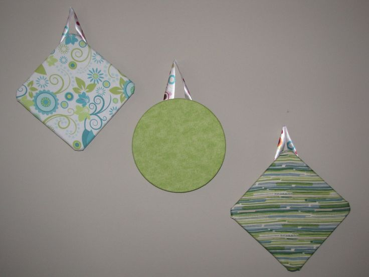 """Set of 3 7"""" Fabric Covered Cork Boards in Blue, Green, and White - pinned by pin4etsy.com"""