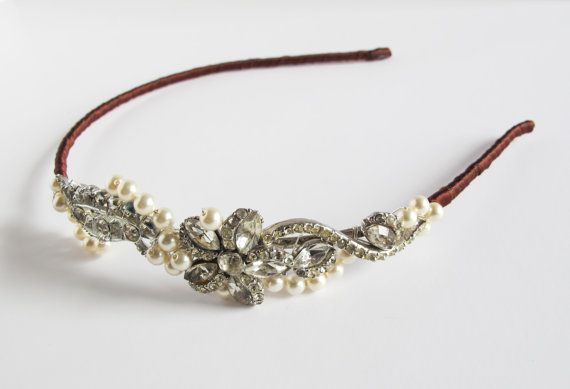 Bridal Vintage Diamante and Pearl Headdress by LucyFisherDesigns