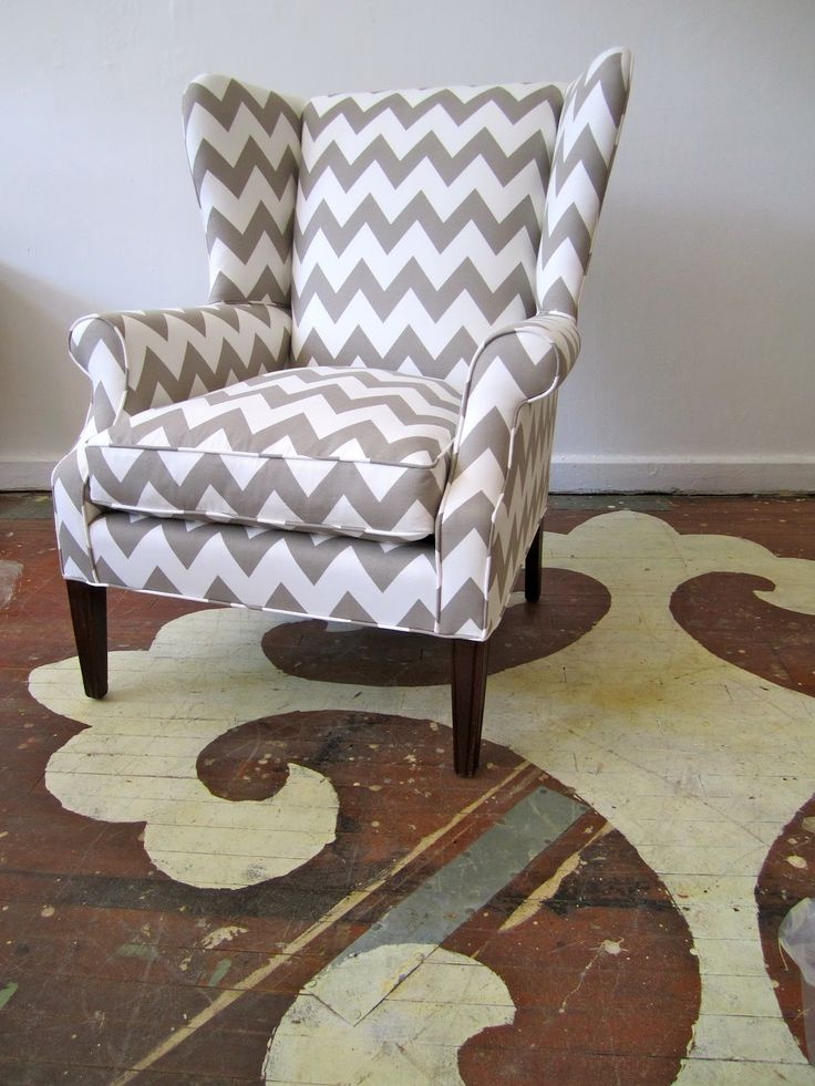 Caitlin Wilson design fabric Greige Zabeel Chevron.  chair reupholstered by Chairloom in Philly.  So lovely!