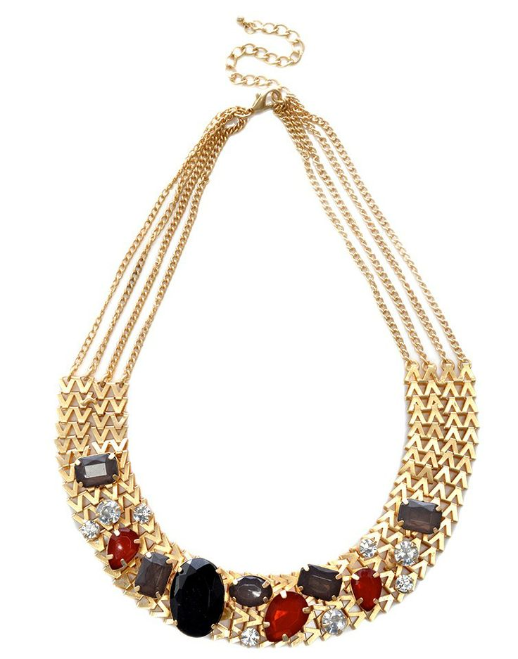 MAJIQUE   Diamanté and Crystal Stone Necklace in Gold -  - Style36