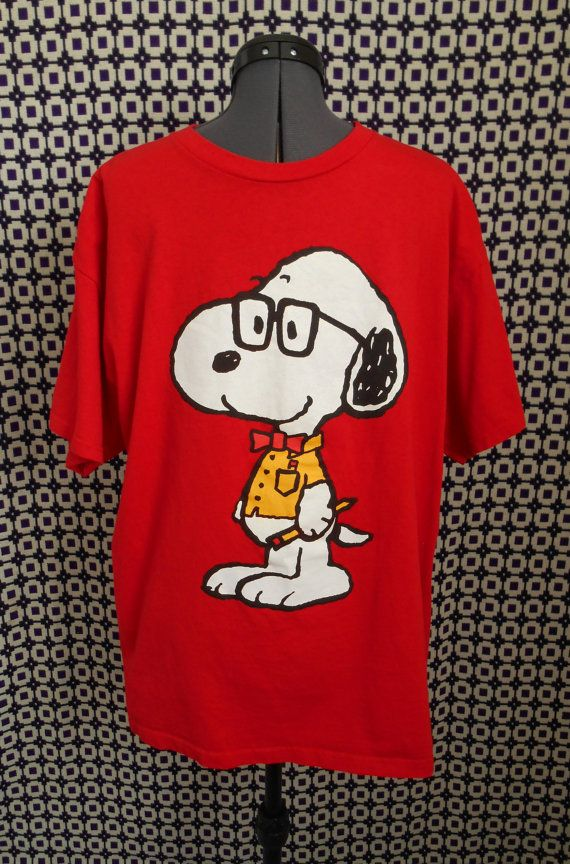 vintage red studious Snoopy Tshirt with glasses and a bow tie by RobsVintique, $13.00 via Etsy