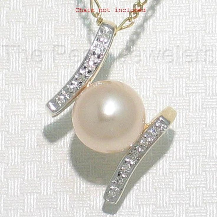 14k Yellow Gold H Design, 12 Diamonds AAA 8.5-9mm Round Pink Pearl Pendant TPJ #ThePearlJeweler #Pendant