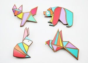 Image of Geometric animal brooches ( 4 Designs)
