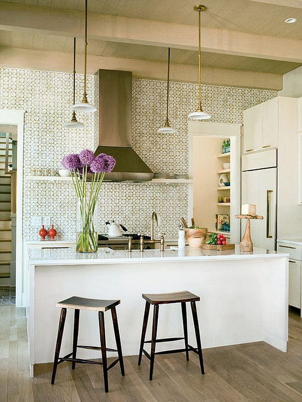 Traditional white #kitchen with purple flowers