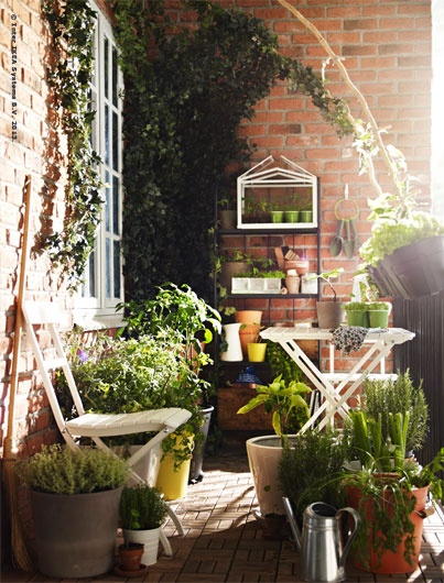 Got a balcony with a not-so-great view? Grow a better one! Plant pots high and low can create a green oasis that's entirely yours.