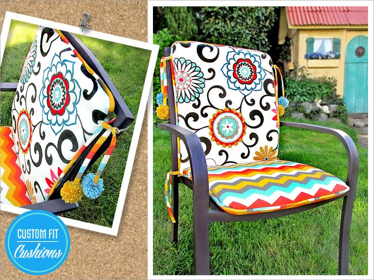 Outdoor Chair Cushions with Pom Ties | Sew4Home