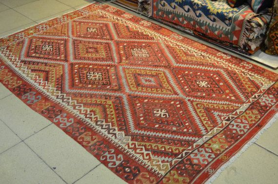 8 by 5.3 feet. Free shipping. Turkish vintage by turkishrugman. Free shipping for worldwide