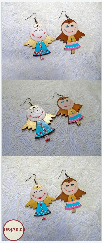 Fun girl earrings Wood Colorful painting Elf Fairy Earrings Kids Jewelry Princess cinderella costume jewelry gift earrings https://www.etsy.com/ODesignerJewelry/listing/576356172/fun-girl-earrings-wood-colorful-painting?ref=related-6