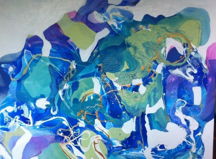 Blue & green abstract by sue bannister. Paintings for Sale. Bluethumb - Online Art Gallery
