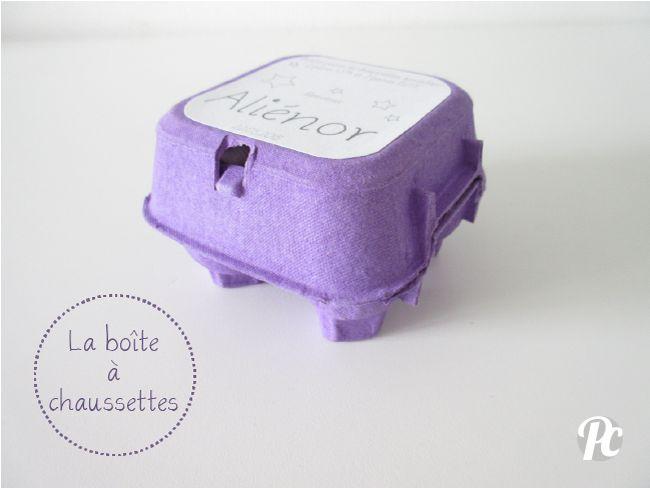 Cadeau de naissance : une boîte à chaussettes avec une boîte à oeufs! Par Potentiel Créatif