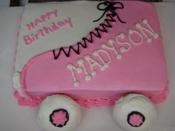 Roller Skate cake (blue) for Michael's birthday.