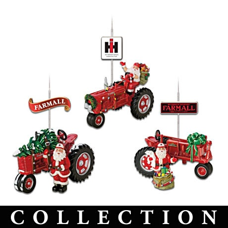 Farmall tractor and santa christmas ornament collection for International harvester decor