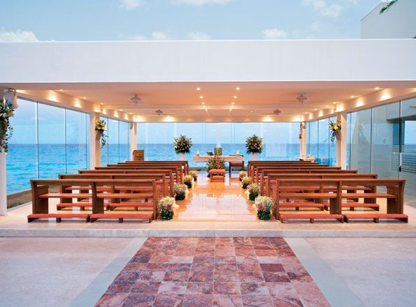 Oceanfront Chapel Our Lady of Guadalupe - At the Gran Caribe - Stunning setting -  http://www.destinationweddingsinparadise.com
