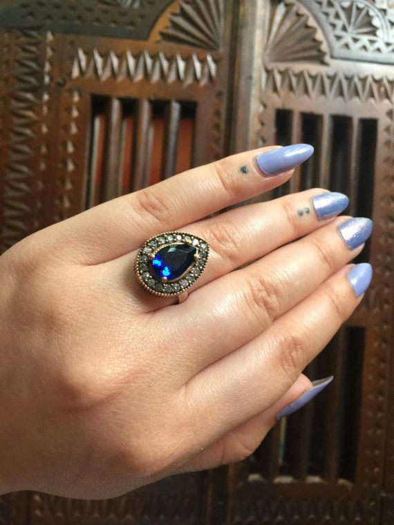 Hurrem Sultan Silver Ring with Safire Blue by MyWorldsTreasures