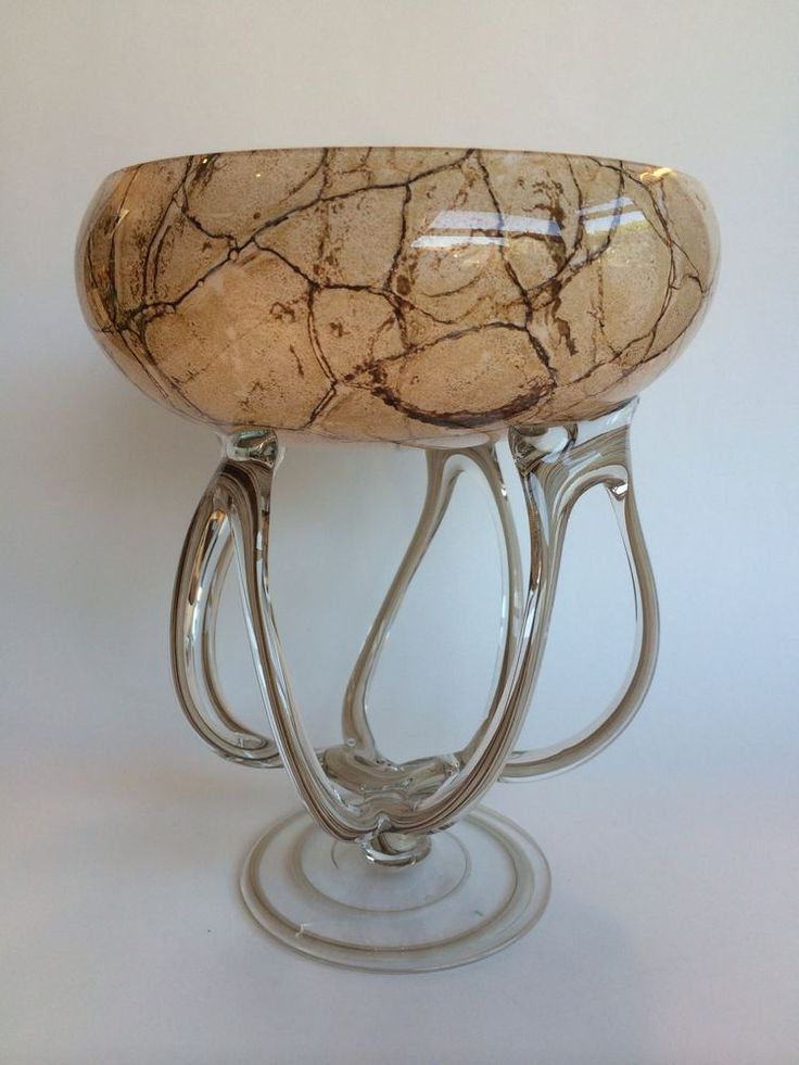 Hand Blown Art Glass Bowl Octopus Jellyfish Pedestal
