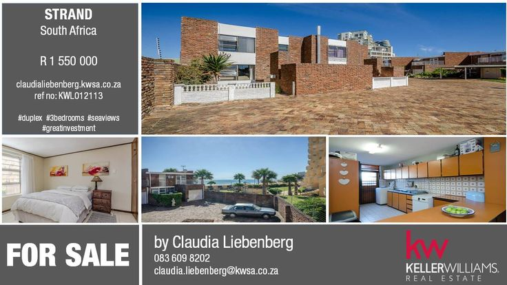 For Sale - 3 Bedroom own title, duplex in Strand, South Africa. Great investment in gated complex on Beach road. #seaviews #justlisted