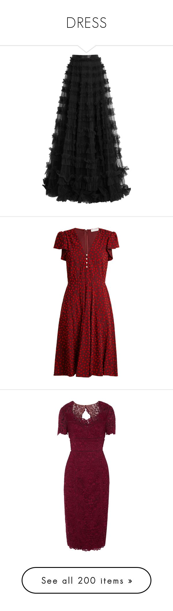 """""""DRESS"""" by susibonvi ❤ liked on Polyvore featuring skirts, long tulle skirt, ruffled skirt, floor length tulle skirt, maxi skirt, long ruffle skirt, dresses, altuzarra, red dresses and burgundy"""