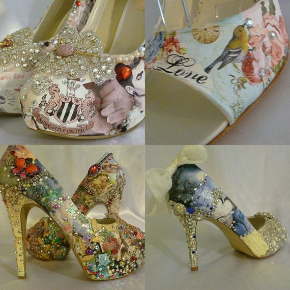Digital Print imaging Custom Designed Shoes ...  This is NOT Decoupage on Etsy, $455.00