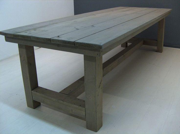NIEUW Kloostertafel van steigerhout behandeld met greywash (252013KLT)