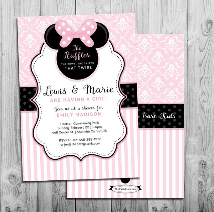 #BabyShowerInvitation Minnie Mouse Baby Shower Invitation | Printable  Invite | Pink Black | Ruffles And
