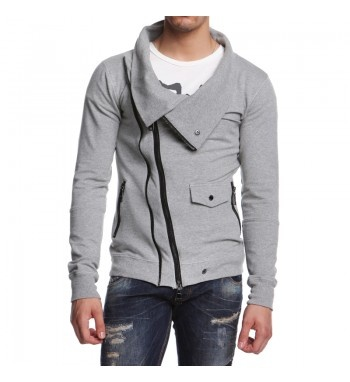 Knitted sweatshirt with details as a studded leather jacket. http://shop.mangano.com/en/topwear/16530-felpa-kinki-grigio-melange.html  #sweatshirt #grey #melange #fashion #menswear