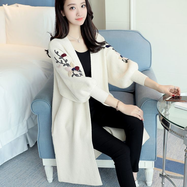 In 46 the new spring long sweater dress loose size embroidery cardigan coat F1732. Click visit to buy #WomenCardigan