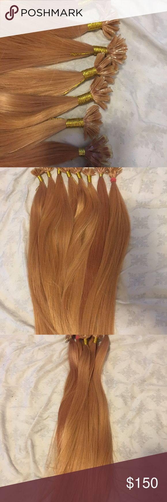 Utip fusion human hair extensions 100% human hair extensions. 18-20 inches. VERY thick and very gorgeous. Can be colored, cut, and styled. Last picture is of me with the other pair i bought in and colored. I bought more than i needed. This is more than enough for a full head! Please make offers and ask questions 😊 Accessories Hair Accessories