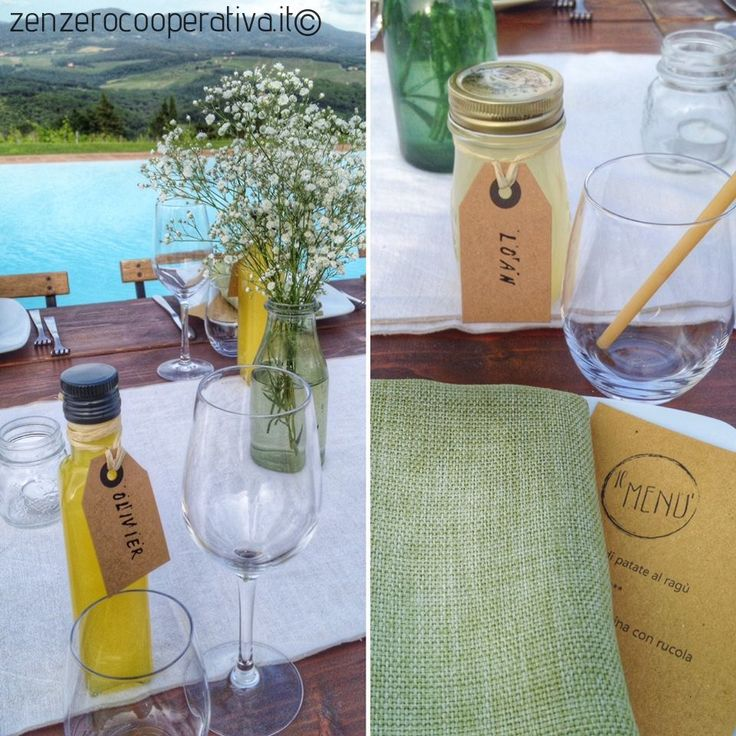 An idea for your Italian #wedding: #Limoncello bottles as place cards (an lemonade for the kids)