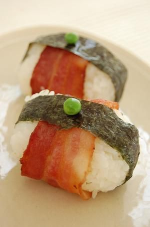 Grilled Bacon-wrapped Onigiri