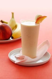 Banana Peach Smoothie----2  Bananas frozen chopped,      1   large Peach peeled and sliced,      1   (6-oz.) carton nonfat Greek vanilla yogurt,      1   dash Nutmeg, optional. Blend till smooth. Sprinkle with nutmeg if desired.   210 cal. gm