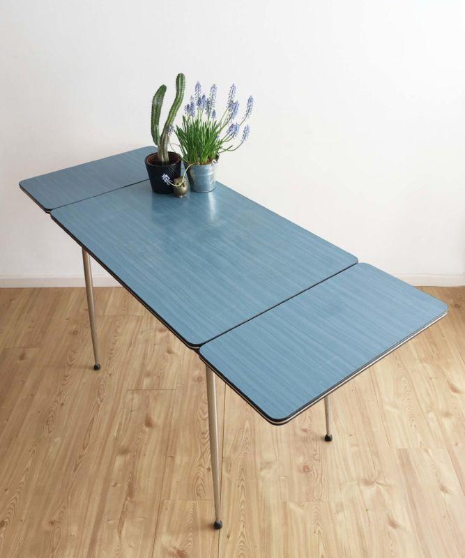 Formica Tafel Uitschuifbaar.Kekke Vintage Formica Tafel Blauwe Retro Keukentafel Uitschuifbaar