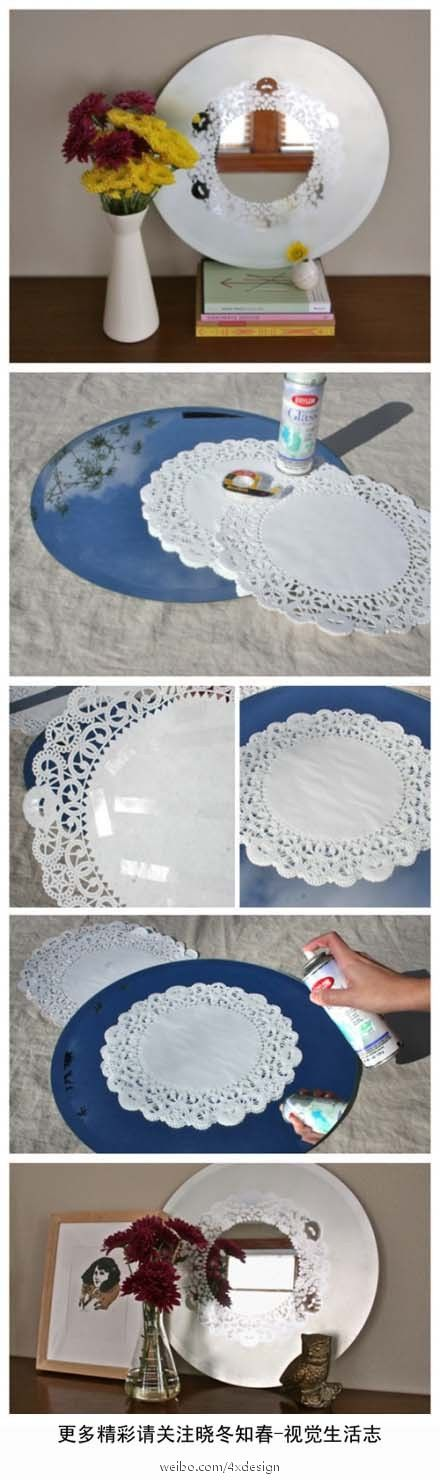 Spray paint over a doily onto a mirror... cute and simpleSprays Painting, Frostings Mirrors, Beautiful Mirrors, Diy Crafts, Mirrors Ideas, Crafts Diy, Diy Mirrors, Diy Projects, Decor Plates