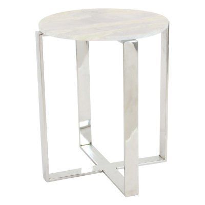 Benzara Simplistic Marble End Table - BM119581
