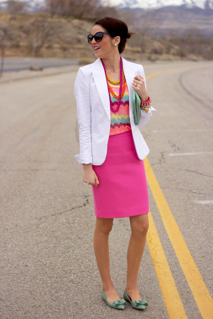 NEON for Spring!! Love these pops of color!: Fashion, White Blazers, Style, Pink Skirts, Pencil Skirts, Work Outfits, Neon Pink, Pink Peonies, Bright Colors