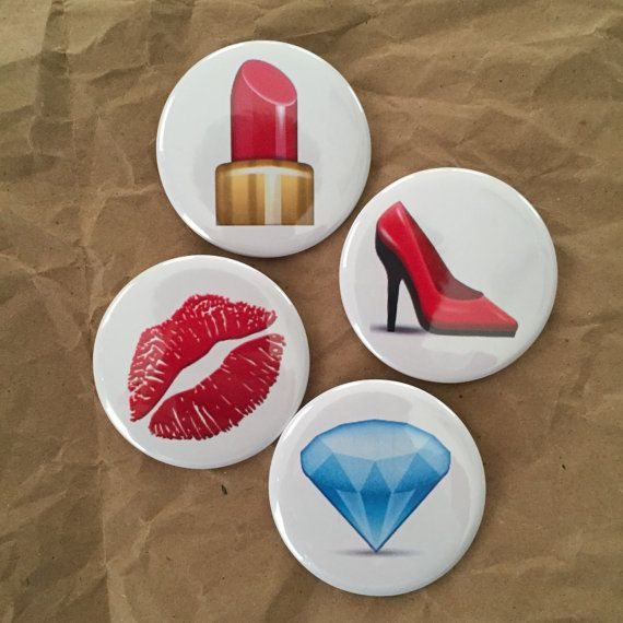 Fashion emoji buttons by HypotheticalButtonCo on Etsy