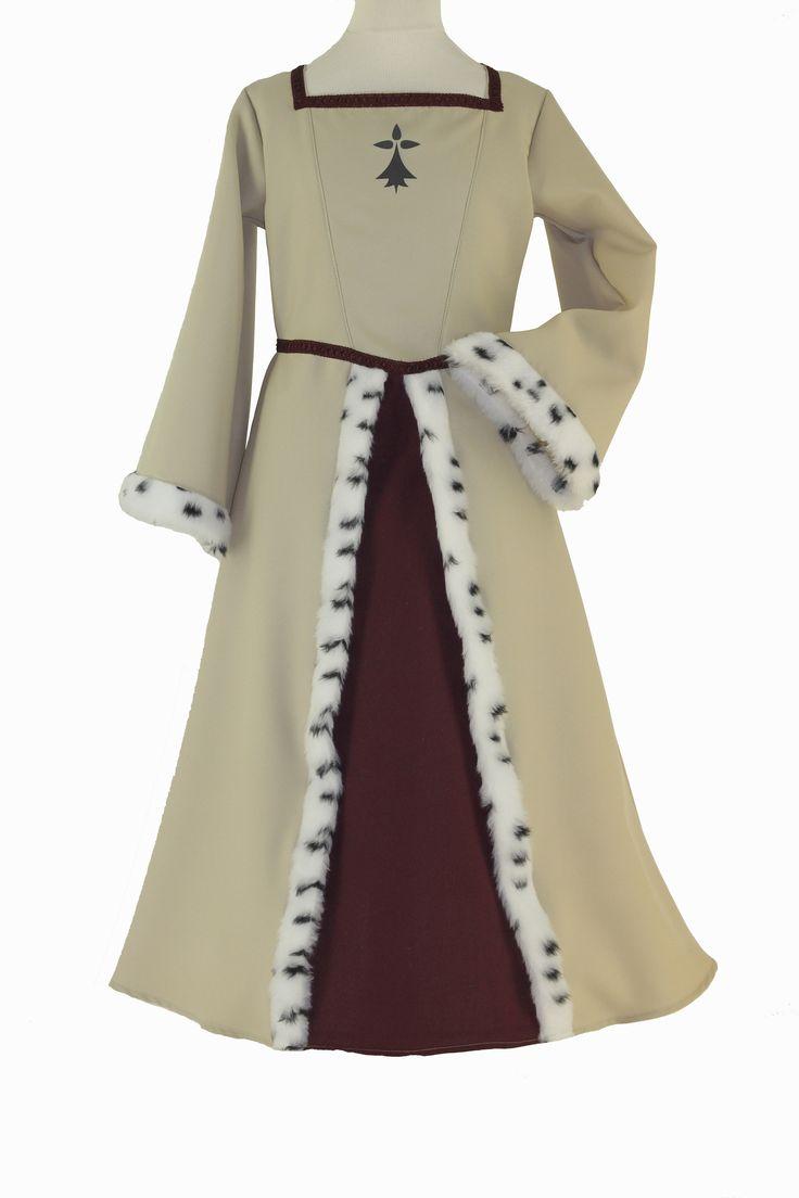 Déguisement Anne de Bretagne beige et bordeaux, fourrure imitation hermine,passementerie, sérigraphie. #lepanacheblanc