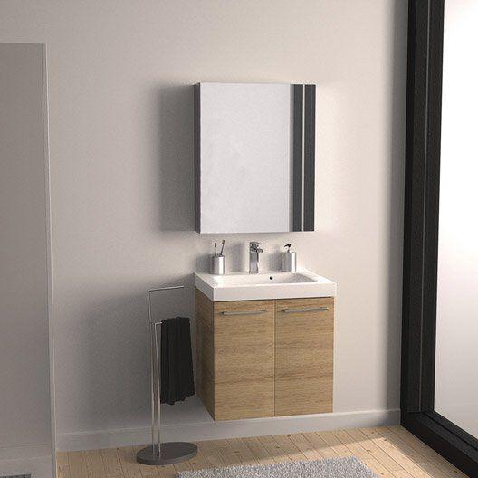 Meuble de salle de bains Remix imitation chêne 61x48.5 cm, 2 portes
