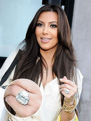 Kim Kardashian's 20-Plus-Carat Engagement Ring Sells For Less Than Half Of What It Cost   People.com