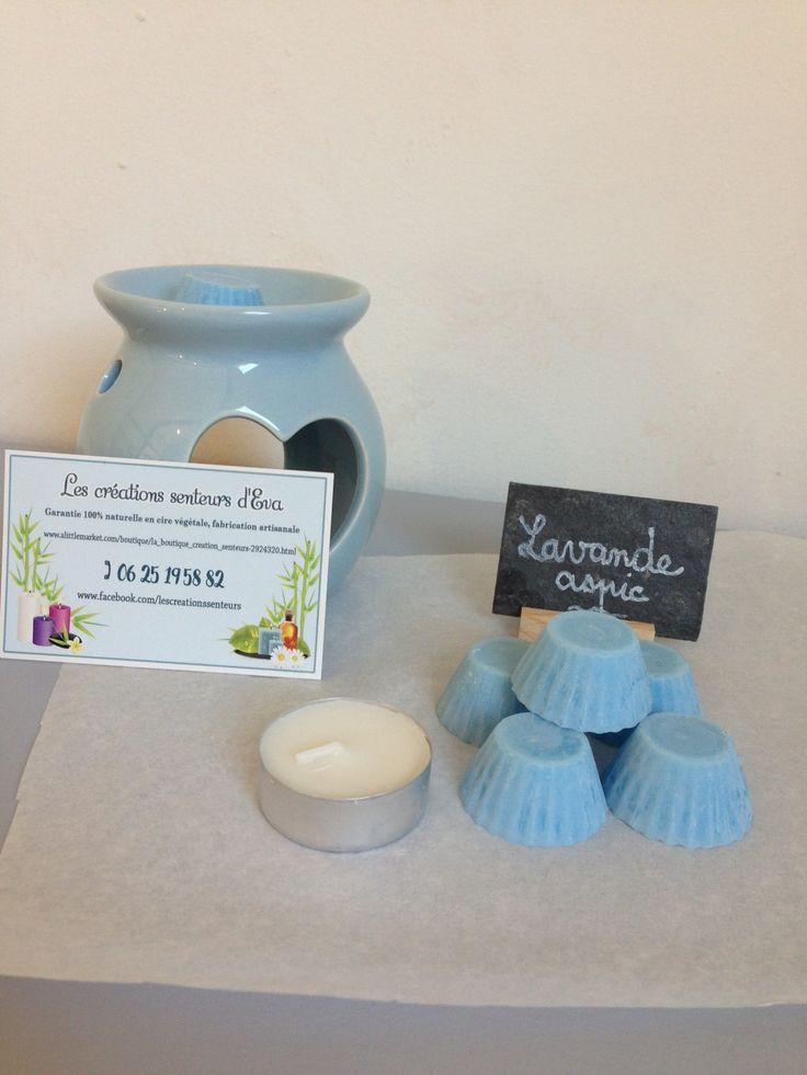 Fondant de cire parfumé lavande aspic (lot de 5 + 1 bougie chauffe plat) : Soin, bien-être par la-boutique-creation-senteurs