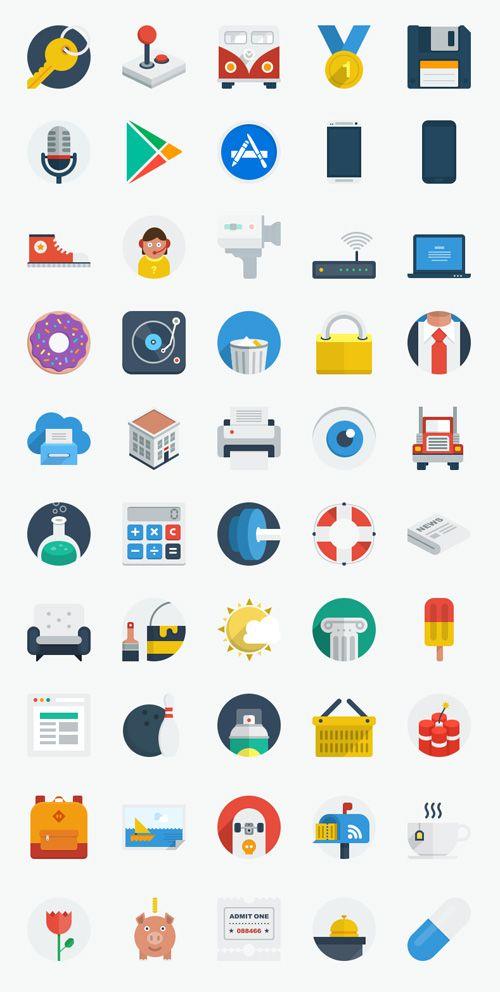 50 New Flat UI Icons #flaticons #freeicons #freepsdicons #flatdesign