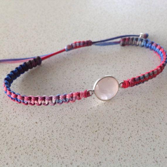 Rose quartz macrame bracelet semiprecious by keepcalmandbeadon, £12.00