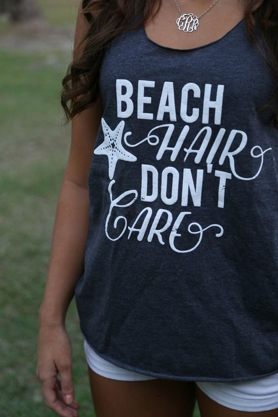 Beach Hair Don't Care Tank: Charcoal - Off the Racks Boutique