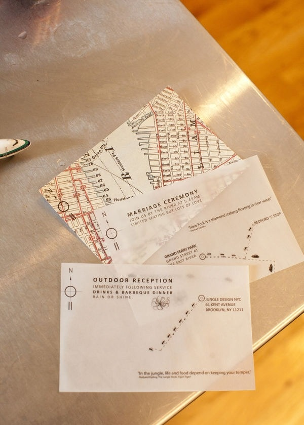 So cute. They sent a map with two transparencies. You lay each on top and it shows you the route to the ceremony and the reception.