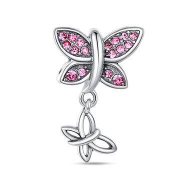 Pink butterfly dangle charm