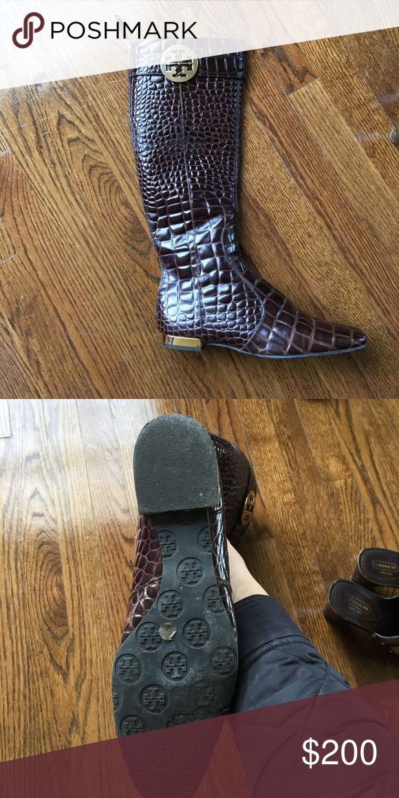Tory Birch size 9 Alligator Boots Worn once to small Tory Burch Shoes Heeled Boots